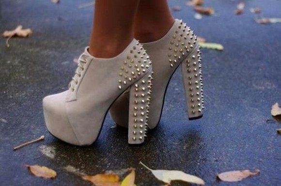 jeffrey campbell lita shoes spikes high heel studded boots ankle boots creme