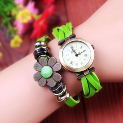 [grxjy51500003]Vintage Red Green Flowers Roman Numarels Classic Bracelet Wrist Watch  on Luulla
