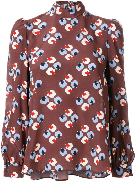 blouse printed blouse women silk brown top