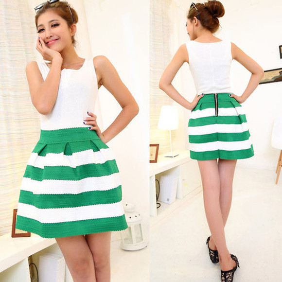 stripes skirt green romper dress