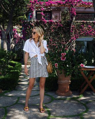 skirt tumblr wrap skirt stripes striped skirt mini skirt shirt white shirt bag round bag shoes sunglasses vacation outfits