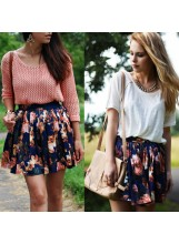 Floral Print Skater Skirt - Skirts - Bottoms - Clothing