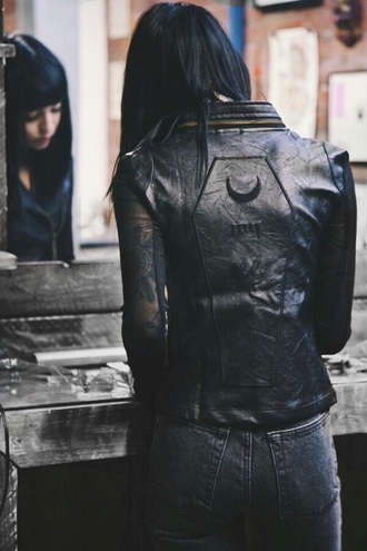 jacket leather jacket hannah pixie snowdon grunge moon black jacket black leather black leather jacket coffin punk leather alternative rock hipster black dark tumblr jeans denim drop dead clothing rock jacket metal grunge wishlist