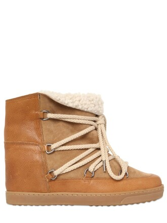 shearling boots boots suede camel shoes