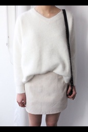 sweater,fuzzy sweater,long sleeves,white wool sweater,wool sweater,white sweater,white,white skirt,girl,model,tumblr,fashion,fluffy