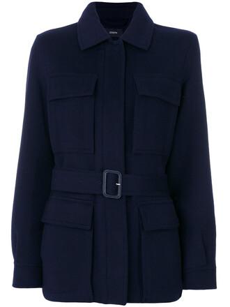 coat women cotton blue wool