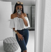 blouse,white,off the shoulder top,shirt,flowy,instagram,crop tops,off the shoulder,sunglasses,iphone,baddies,jeans,eyebrows,watch,nails,high waisted jeans with holes in knees,white shirt,top,tumblr