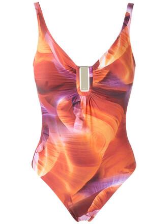 women orange swimwear