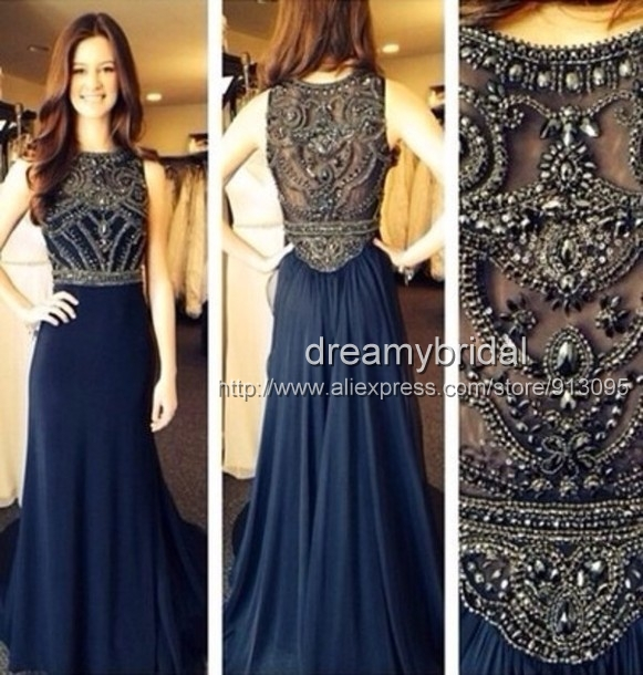 Aliexpress.com : Buy Hot&Sexy High Neck See Through Beaded Navy blue long Prom Dresses 2014 A Line Floor Length Evening Gowns 2014 New Fashion from Reliable dress fans suppliers on Suzhou dreamybridal Co.,LTD