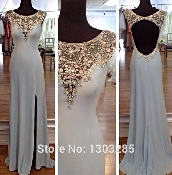 Aliexpress.com : buy vestidos de fiesta sexy o neck with crystal a line natural waist open back side split floor length chiffon prom dresses from reliable dress cowl neck suppliers on sexybridalqueen