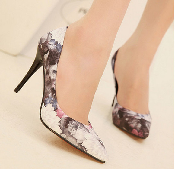 shoes high heels red floral dress shoes ladies pointy toe
