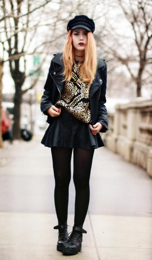 jewels skirt tights shoes