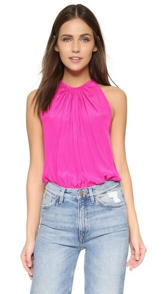 blouse sleeveless paris pink top