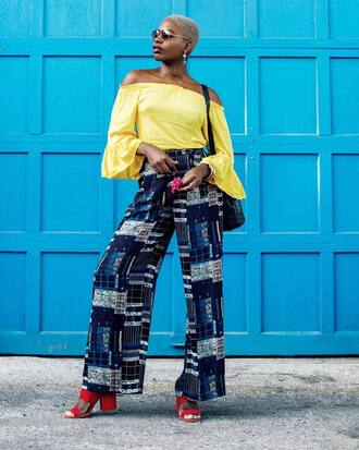pants tumblr blue pants wide-leg pants off the shoulder off the shoulder top yellow yellow top sandals red shoes shoes sunglasses