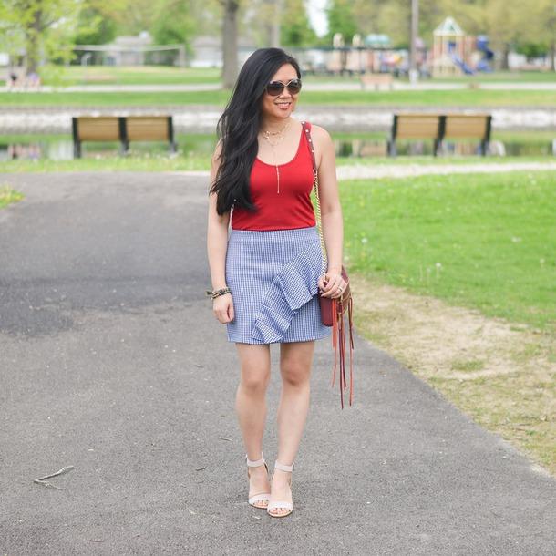 morepiecesofme blogger sunglasses jewels bag tank top skirt shoes red top blue skirt shoulder bag sandals