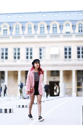 preppy fashionist blogger coat top skirt tights shoes bag winter outfits fuzzy coat faux fur coat pink coat fishnet tights crossbody bag striped top