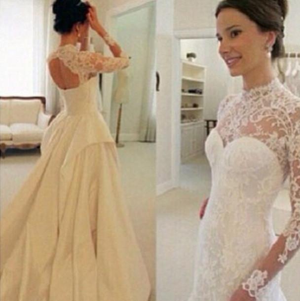 Dress wedding white lace long beautiful open back for White long sleeve lace wedding dress