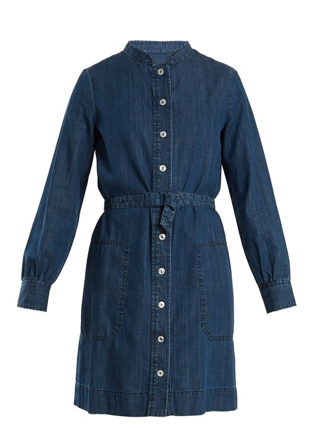 shirtdress cotton blue dress
