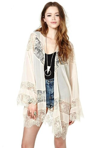 coat sheer lace white summer