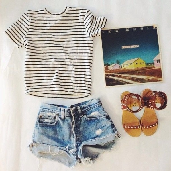 shorts blouse shoes denim shorts denim ripped shorts summer outfits hipster striped shirt shirt pants short sleeve stripes black white tight