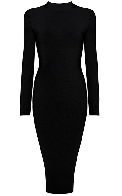 Long Sleeve High Neck Midi Bandage Dress Black