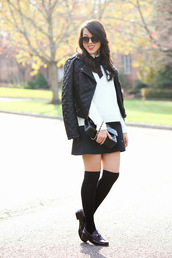 refined couture,blogger,jacket,socks,bag,sunglasses,quilted,mini skirt,loafers,white shirt,black loafers