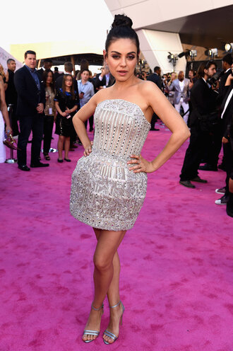dress mini dress silver strapless mila kunis billboard music awards sandals bustier dress sparkly dress