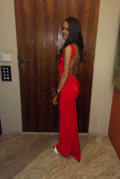 Red tight backless prom dress