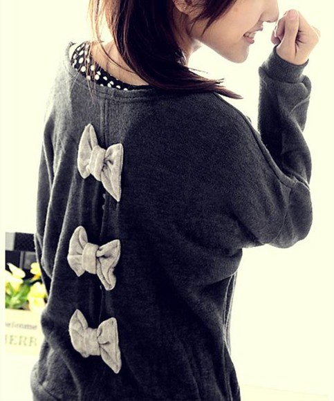 jumper long sleeve grey bow back cut-out