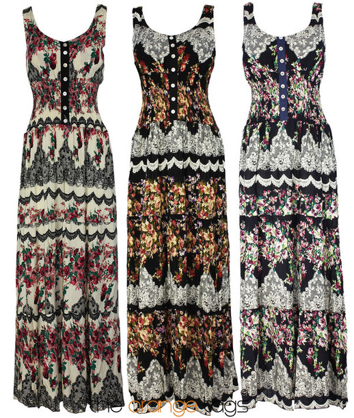 Dress Retro Vintage Maxi Dress Long Dress Country Country