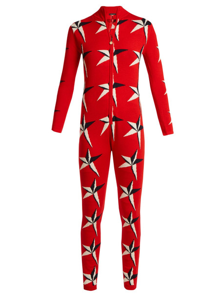 PERFECT MOMENT Star 2 intarsia wool jumpsuit in red / multi