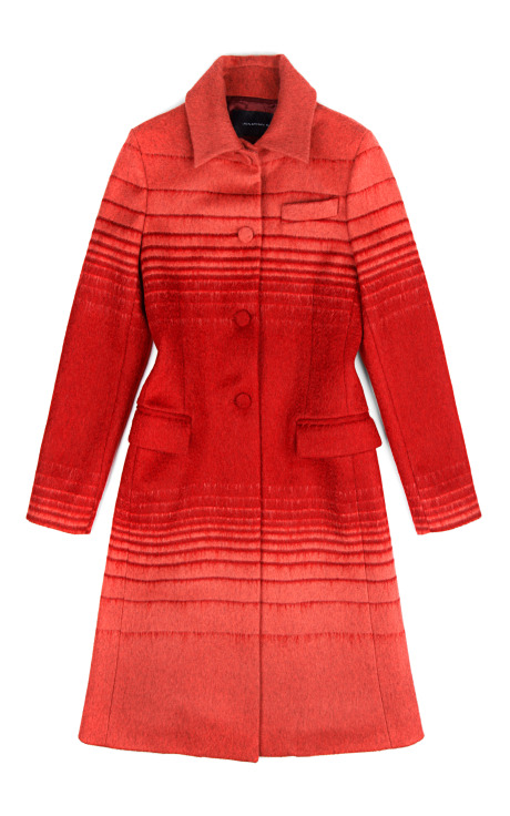Athena wool jacquard coat in red stripe by jonathan saunders