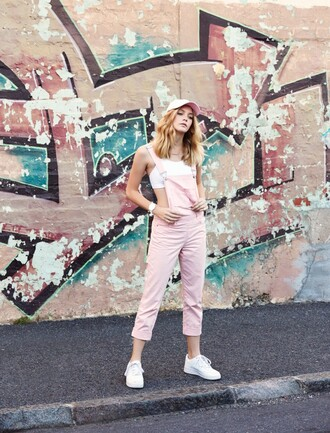 my life in pink blogger pastel pink dungarees sports bra cap