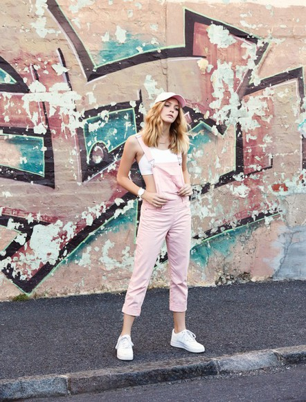 cap blogger my life in pink pastel pink dungarees sports bra