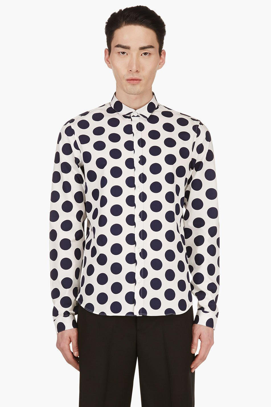 Burberry prorsum navy and white slim fit polka dot shirt for Slim fit polka dot shirt