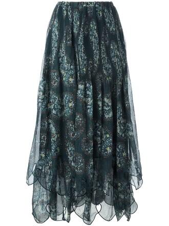 skirt maxi skirt maxi women scalloped cotton green