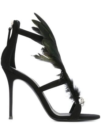 women embellished sandals leather suede black shoes