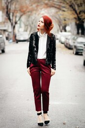 le happy,blogger,cropped pants,red,white shirt,black jacket,black shoes,jacket,pants,blouse,shoes