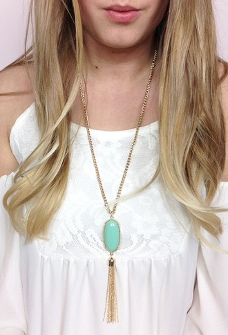 jewels stone necklaces teal long necklace