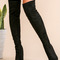 Black faux suede point toe thigh high boots -shein(sheinside)
