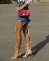 shoes,tumblr,clear boots,transparent boots,clear,high heels,thick heel,block heels,over the knee boots,mini skirt,asymmetrical,asymmetrical skirt,denim skirt,blue skirt,bag,red bag,diorama bag,dior bag,dior,thick heel boots