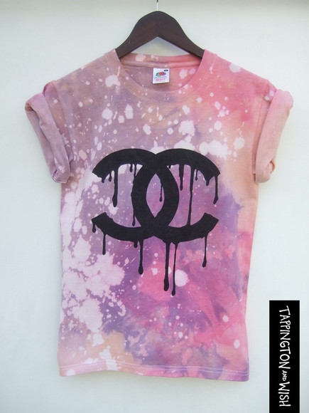 ombre shirt tappingtonandwish dip dye tie dye top tee dripping dripping logo chanel