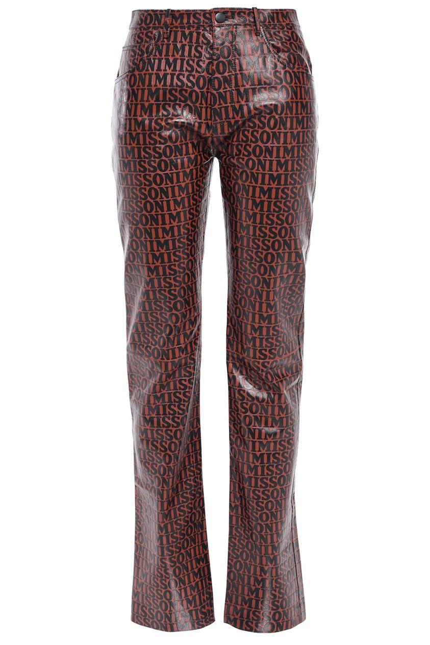 Missoni Woman Printed Leather Straight-leg Pants Brick Size 38