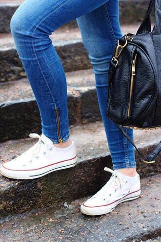 white sneakers black bag jeans blue zip denim