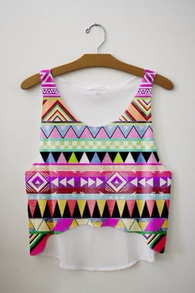 tank top tribal colorful crop tops