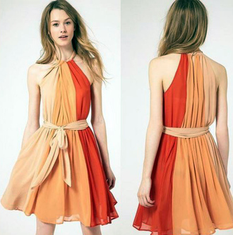dress ribbon girl cute hot ombre stripes autumn orange red sunny sleeveless