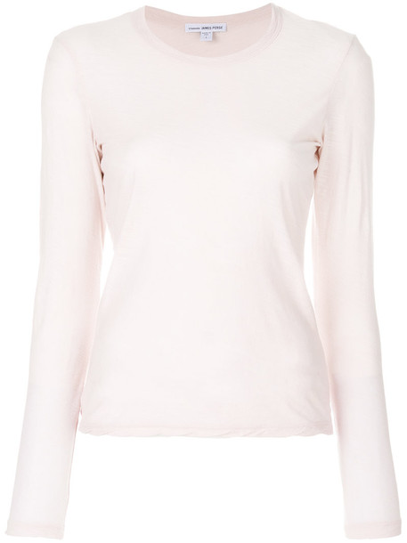 James Perse - long sleeved T-shirt - women - Cotton - 2, Pink/Purple, Cotton