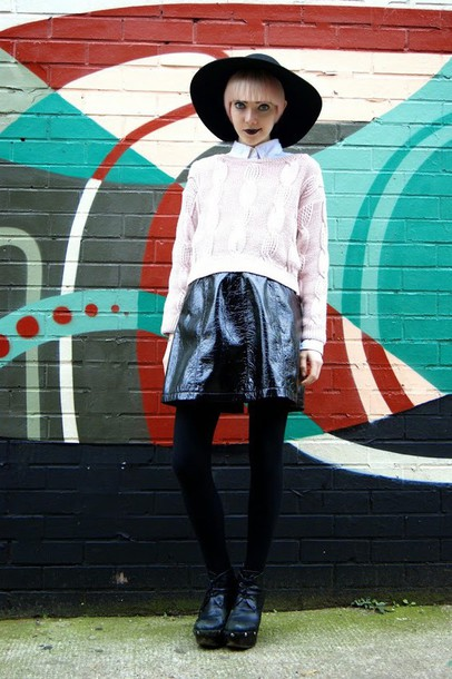 stella's wardrobe blogger hat pink sweater cable knit felt hat leather skirt sweater skirt shoes carvela