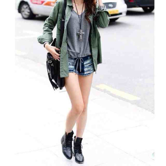 shorts denim hipster jacket grey tank grunge