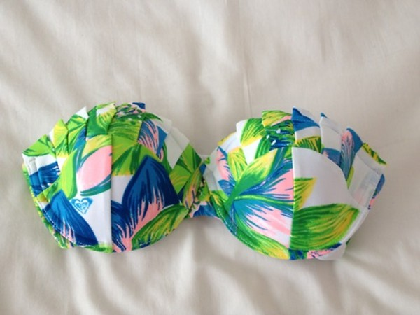 swimwear green blue floral bandeau bikini bikini tropical hawaiian tropical bikini top bandeau bikini retro bikini floral bikini summer swimwear bra